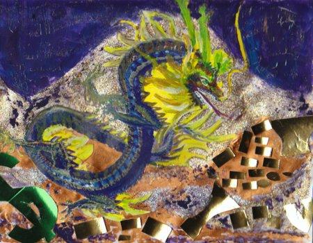 A dragon, hoarding its random dragon bling