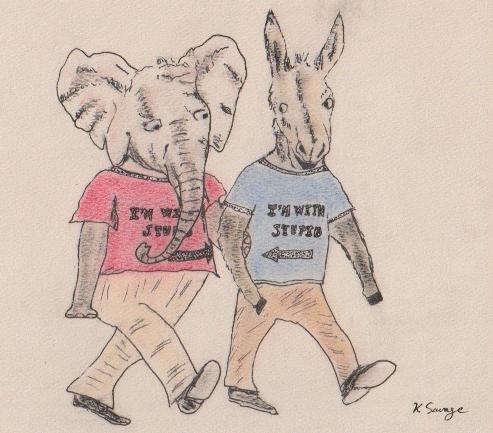 Donkey and Elephant walking arm in arm, wearing 'I'm with stupid' shirts