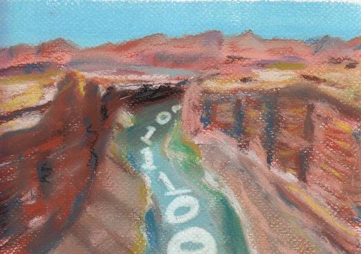 A digital river flowing through a canyon